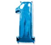 """Шар """"Цифра 1"""" синяя 102 см"""