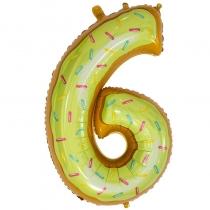 """Шар Цифра пончики желтая """"6"""" 102 см"""