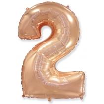 """Шар """"Цифра 2"""" розовое золото 102 см"""