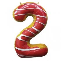 """Шар Цифра пончики """"2"""" 102 см"""