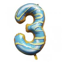 """Шар Цифра пончики """"3"""" 102 см"""
