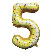 """Шар Цифра пончики """"5"""" 102 см"""