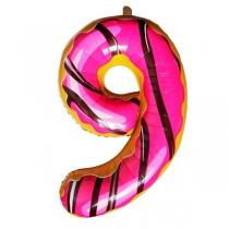 """Шар Цифра пончики """"9"""" 102 см"""
