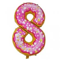 """Шар Цифра пончики """"8"""" 102 см"""