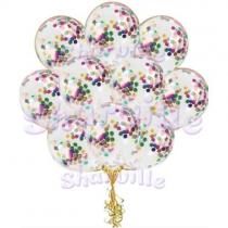Шары прозрачные с разноцветным конфетти