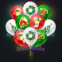 """Светящиеся шарики с рисунком """"Новый Год"""""""