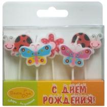 "Свечи ""Бабочки и божьи коровки"" 5шт."