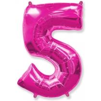 """Шар """"Цифра 5"""" розовая 102 см"""
