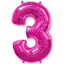 """Шар """"Цифра 3"""" розовая 102 см"""