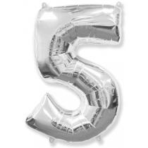 """Шар """"Цифра 5"""" серебро 102 см"""