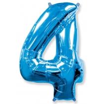"""Шар """"Цифра 4"""" синяя 102 см"""