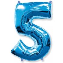 """Шар """"Цифра 5"""" синяя 102 см"""
