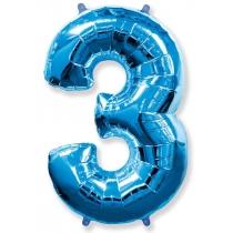 """Шар """"Цифра 3"""" синяя 102 см"""