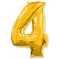 """Шар """"Цифра 4"""" золото 102 см"""